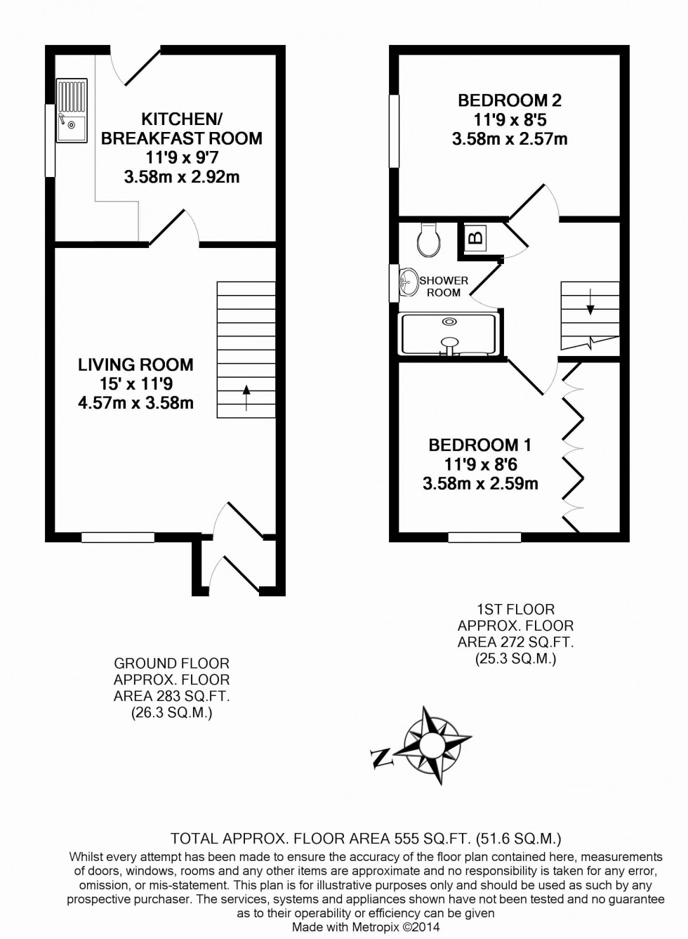 Floorplan for St. Rualds Close, Wallingford