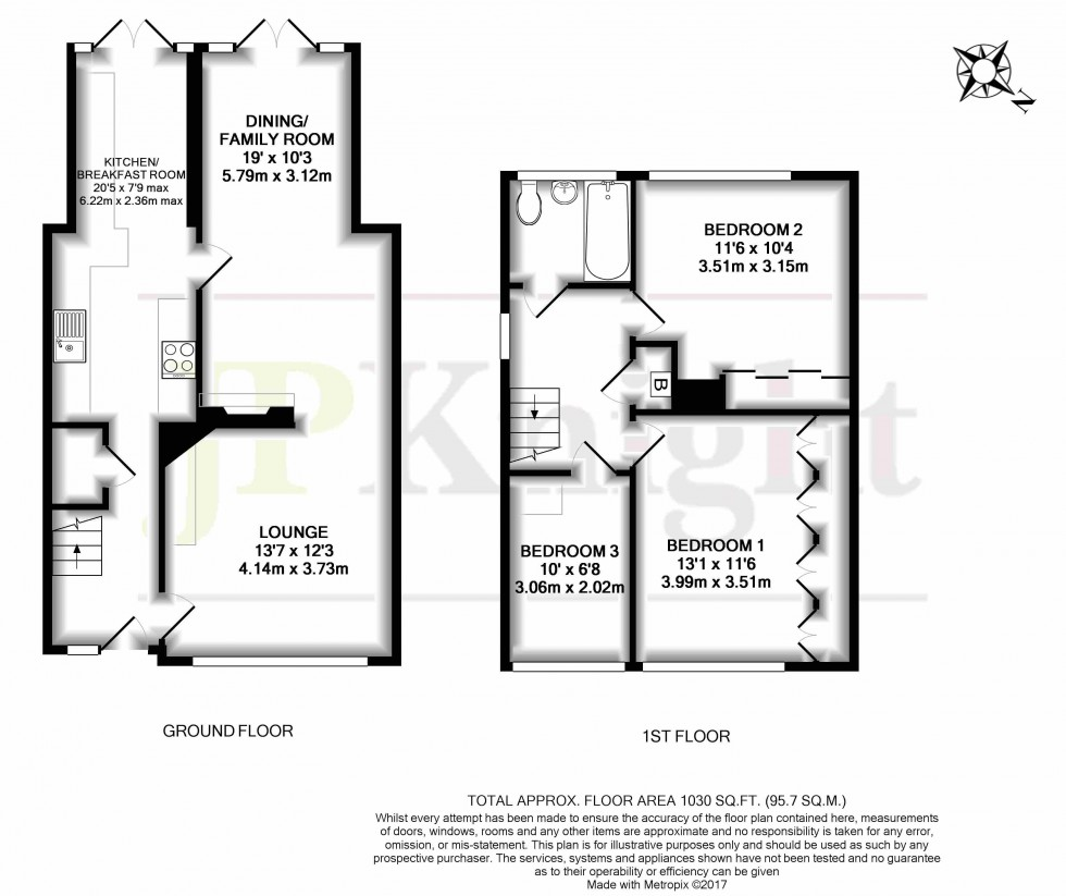 Floorplan for Farm Close, Chalgrove